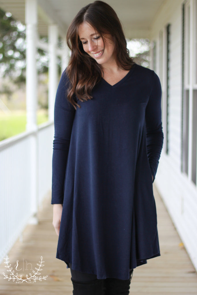 Navy Long Sleeve Comfort Basic T-shirt Dress