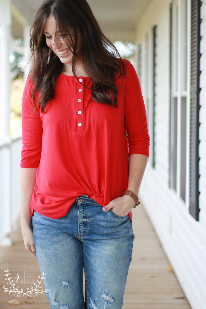 Ruby Red Henley Basic 3/4 Sleeve Tee