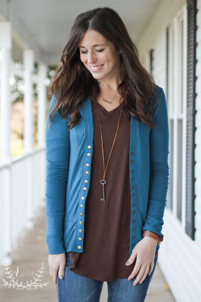 Teal Snap Front Cardigan
