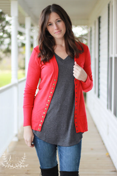 Ruby Red Snap Front Cardigan