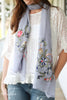 Slate Blue Embroidered Floral Scarf