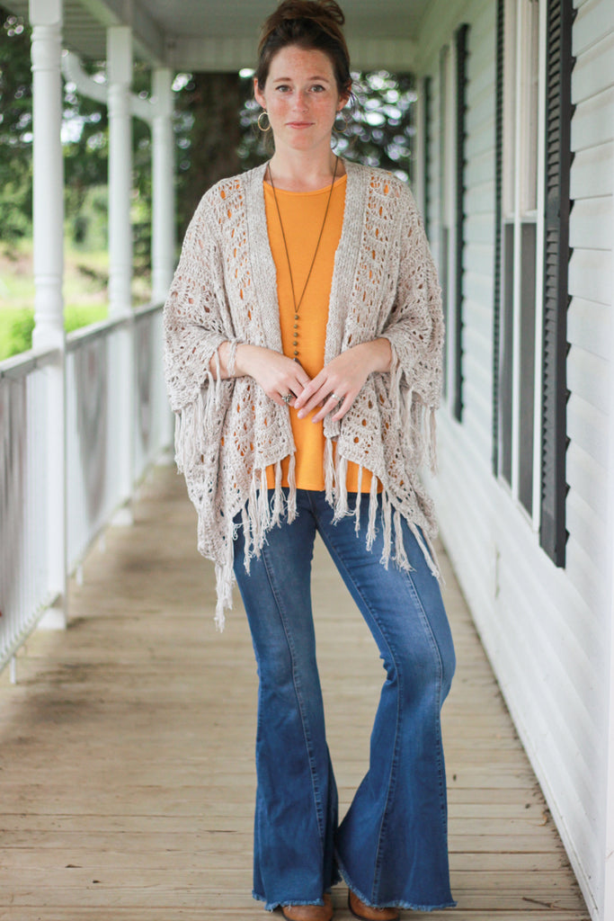 Taupe Fringe Shawl Cardigan Sweater