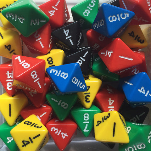 Octahedral fraction dice (1/8-8/8)
