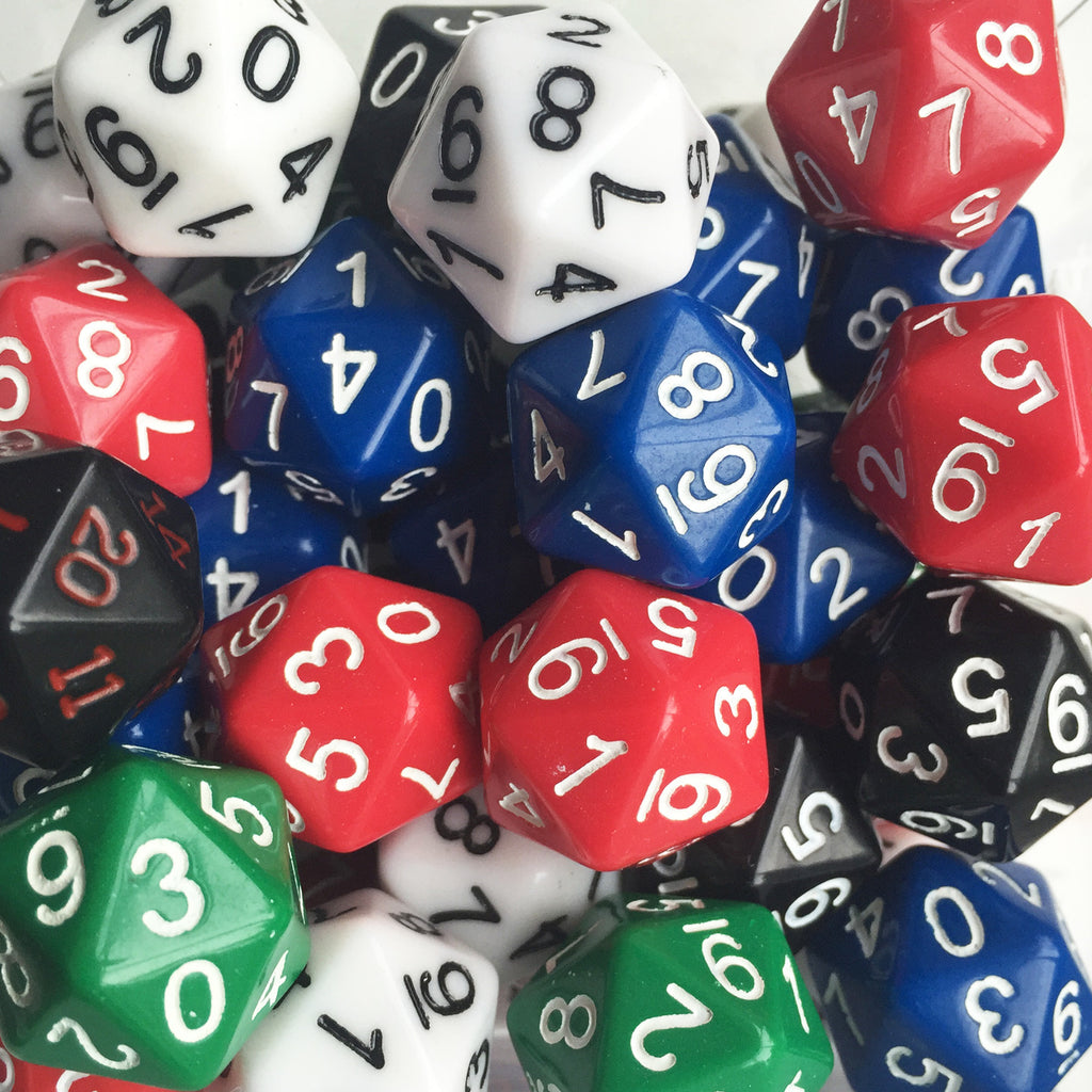Icosahedral dice (0-9, twice)