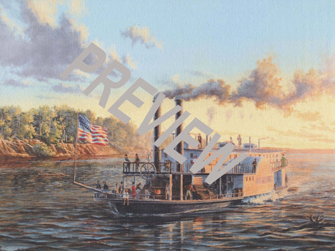"""Steamer Heroine on the Red River, 1838"" 11"" X 14"" Oil on Canvas by Peter Rindlisbacher"