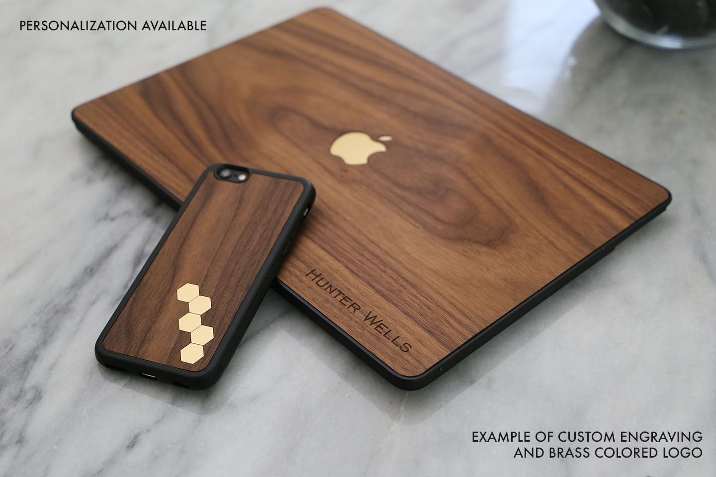 Real Wood MacBook Case Custom Engraving Inlay Brass Pro Air TouchBar