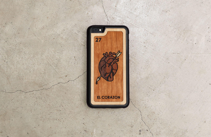 Real Wood iPhone Case - Loteria Mexicana El Corazon