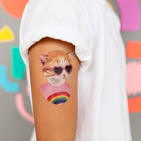 Rainbow Kitten Temporary Tattoo Set