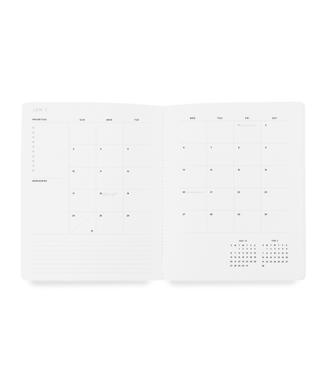 2021 Monthly Planner-- Charcoal Gray