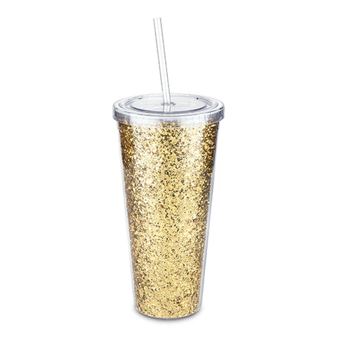 Glam Gold Double Walled Glitter Tumbler