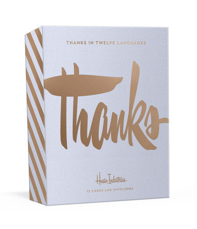 Gold Foil 'Thanks' Cards in Twelve Languages