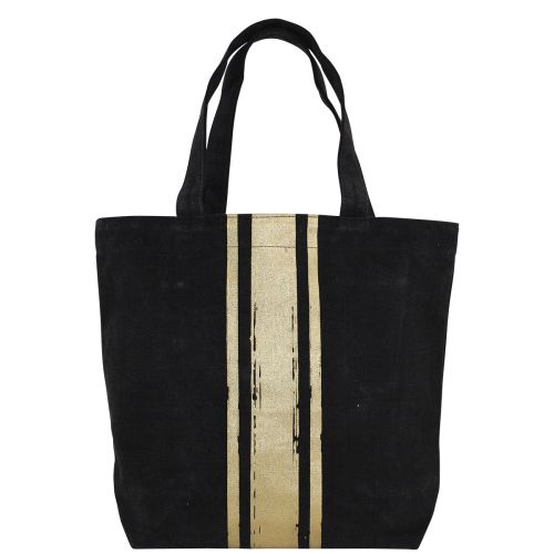 Brushed Canvas Tote Black With Gold Paintstroke Stripes