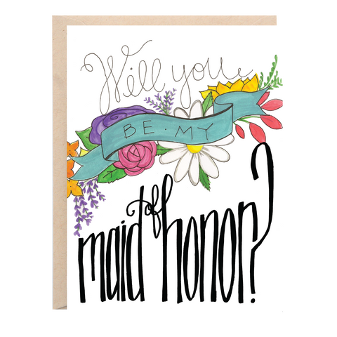 Will You Be My Maid of Honor? Wedding Greeting Card