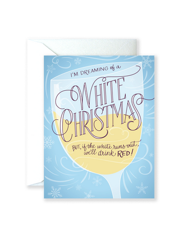 White Wine Christmas Holiday Greeting Card