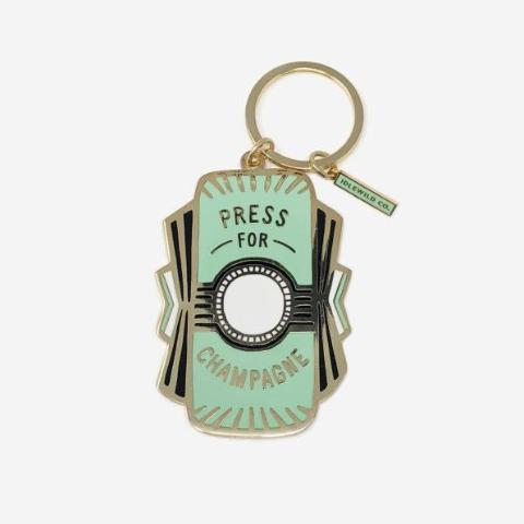 Press For Champagne Enamel Keychain