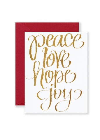 Peace Love Joy Hope Holiday Greeting Card