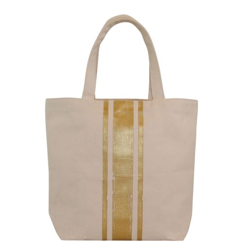 Brushed Canvas Tote With Metallic Paintstroke Stripes