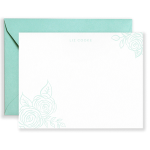 Personalized Brush Florals Social Stationery