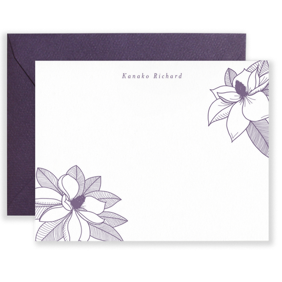 Personalized Magnolia Social Stationery