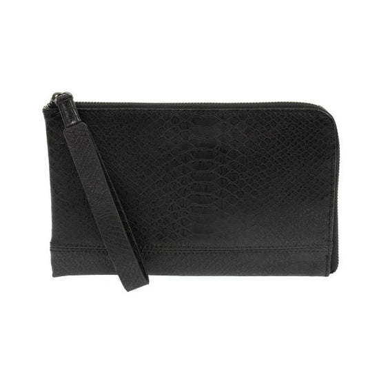 Black Tina Python Zip Around Wristlet