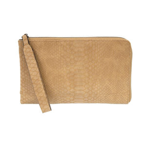 Camel Tina Python Zip Around Wristlet