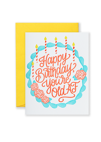 Old AF Birthday Letterpress Greeting Card