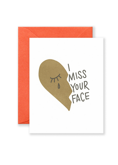 Miss Your Face Greeting Card - Brown