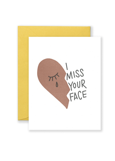 Miss Your Face Greeting Card - Ochre
