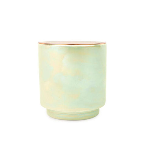 Iridescent Ceramic Glow Candle -  White Woods & Mint