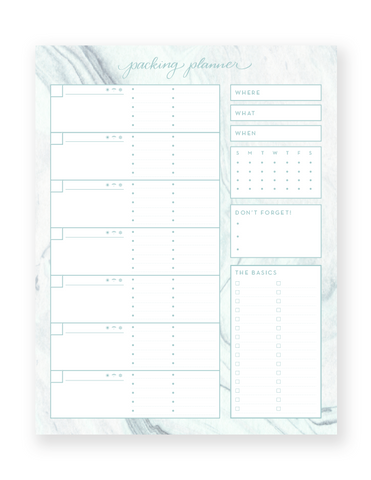 Packing Planner Notepad