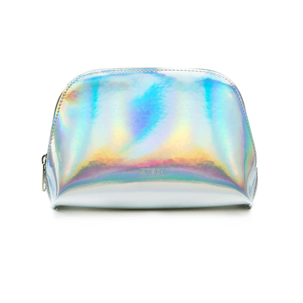 Iridescent Silver Vinyl Zippered Pouch