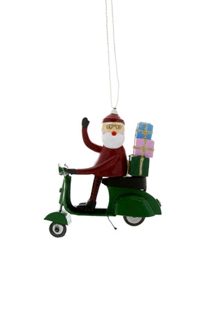 Santa Scooter Ornament
