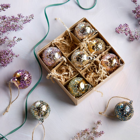 Metallic Stubbled Ornament Set of 9