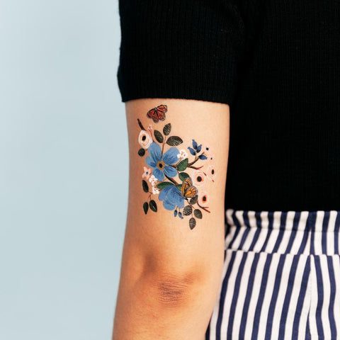 Monarch Butterfly Blue Flower Temporary Tattoo Set