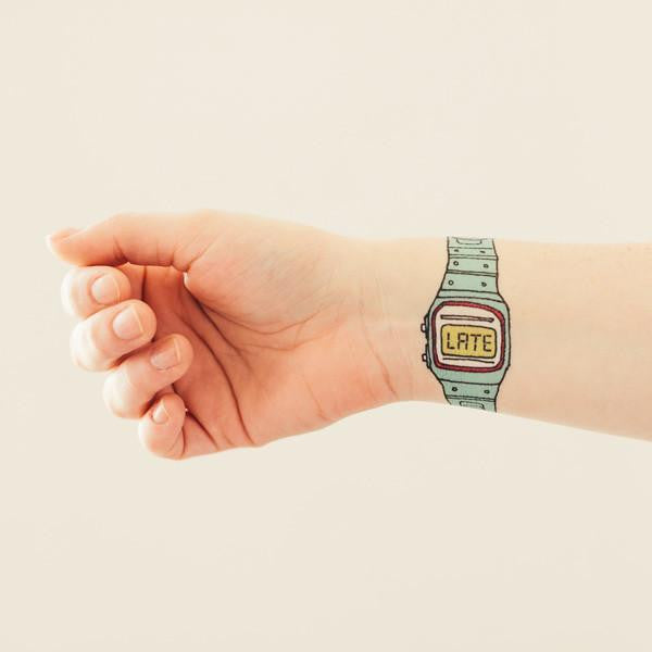 You're Late Watch Temporary Tattoo Set