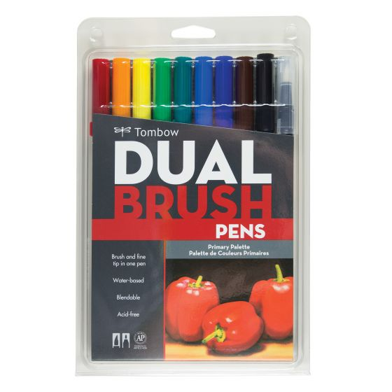 Tombow Dual Brush Pen 10 Pack - Primary