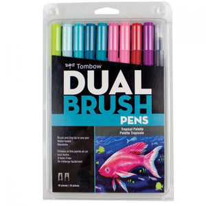 Tombow Dual Brush Pen 10 Pack - Tropical