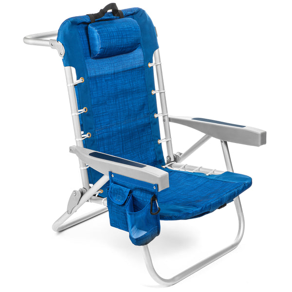Homevative Folding Backpack Beach Chair with 5 Positions, Towel bar, Blue