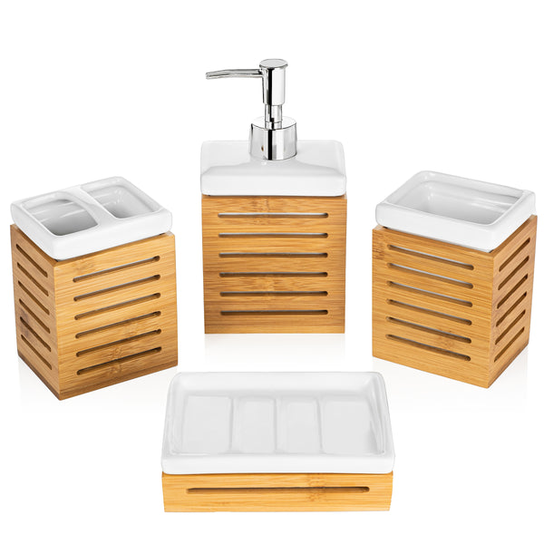 Homevative 4pc Bathroom Accessories Set, Ceramic & Bamboo