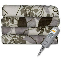 Sunbeam Premium-Soft Velvet Plush Electric Heated Throw Blanket, Machine Washable Dryer Safe, Steel Grey (Green Floral)