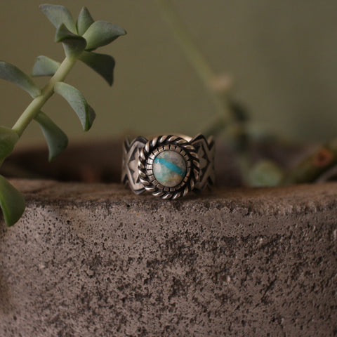 Bisbee Quartz and Sterling Silver Stamped Band Ring