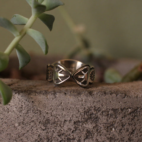 Sterling Silver Stamped Bowtie Ring