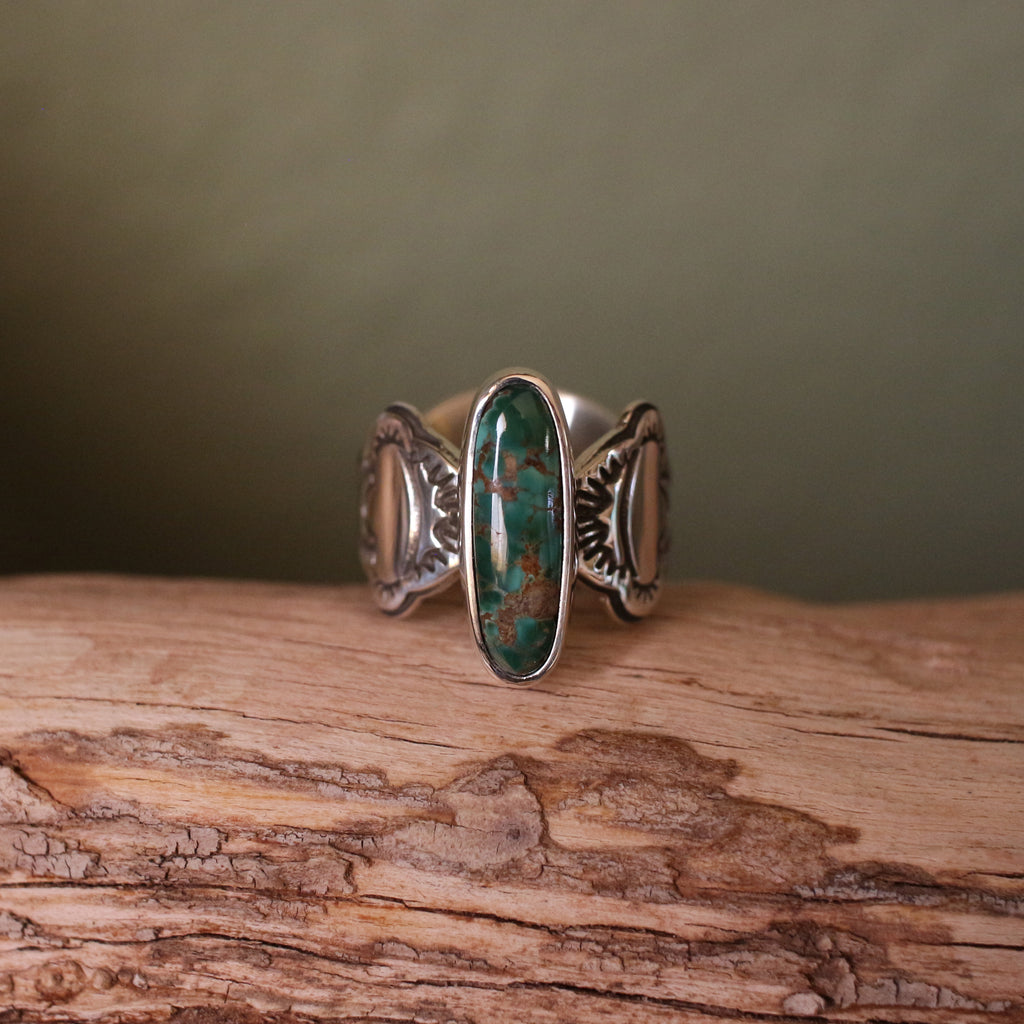 Brandon Pit Turquoise and Sterling Silver Stamped Band Ring
