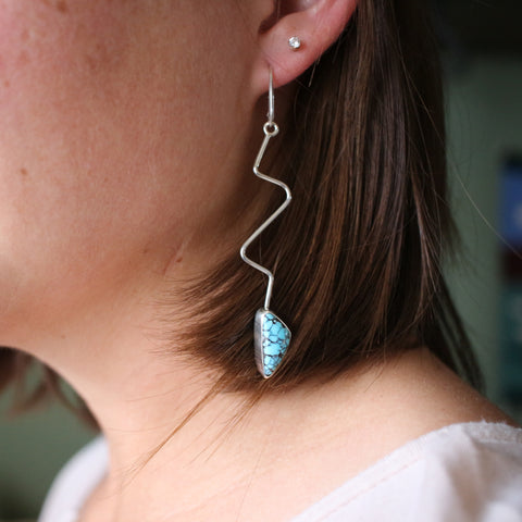 Cloud Mountain Turquoise and Sterling Silver Wave Dangle Earrings