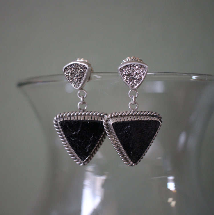 Platinum Druzy and Black Tourmaline Sterling Silver earrings
