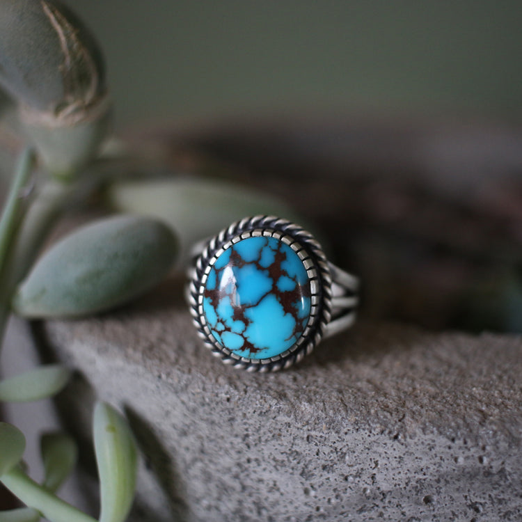 Egyptian Turquoise Ring with 3 Prong Stamped Band