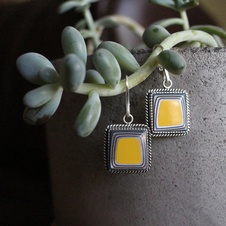 Yellow Fordite Dangle Earrings