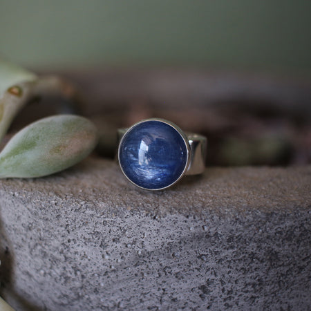 Round Kyanite Sterling Silver Ring