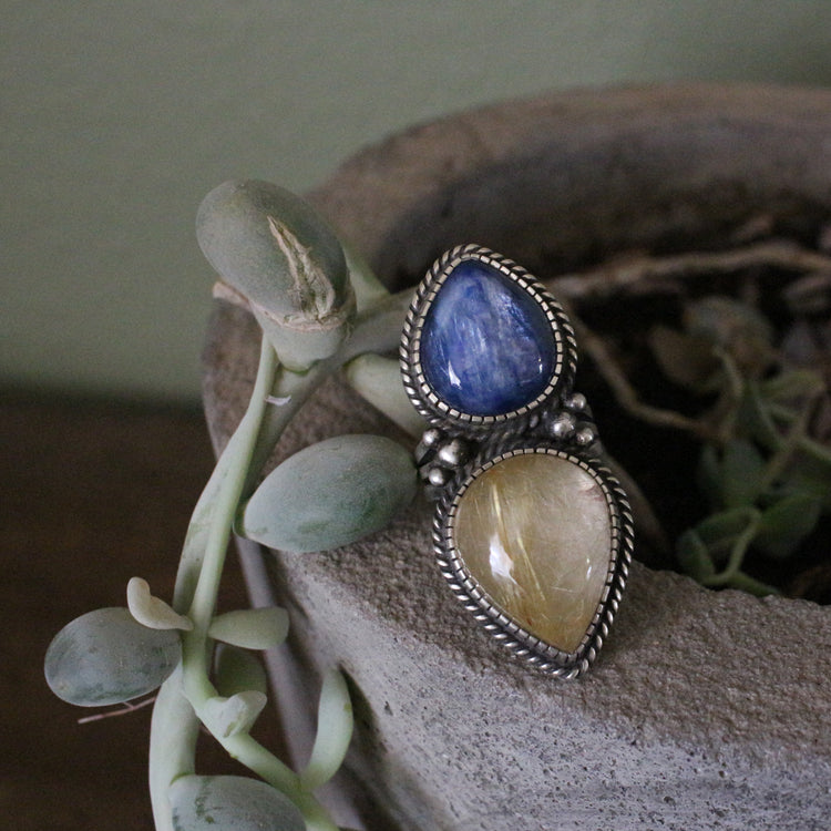 Kyanite and Rutilated Quart 2 Stone Sterling Silver Ring
