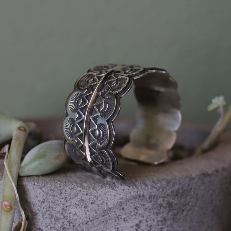 Sterling Silver Stamped Lace Cuff #6